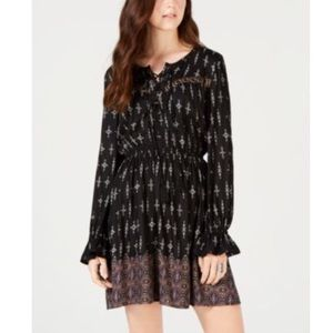 American Rag Printed Lace-Up Peasant Classic Dress